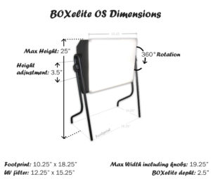"BOXelite OS max dimensions are 25"" high by 18.25"" wide with 360 degree rotation and adjustable height of 3.5 inches"